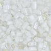 Miyuki Tila Half Cut 5X2.3mm 2Hole White Pearl Opaque Aurora Borealis
